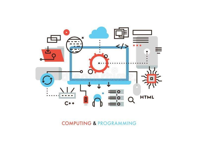 Απεικόνιση γραμμών υπολογισμού και προγραμματισμού επίπεδη ελεύθερη απεικόνιση δικαιώματος