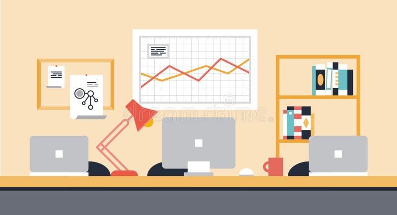 Απεικόνιση γραφείων χώρου εργασίας συνεργασίας απεικόνιση αποθεμάτων