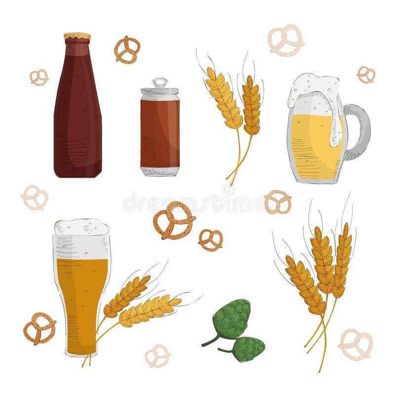 απεικόνιση γυαλιού μπύρας ανασκόπησης λαμπρή διανυσματική απεικόνιση