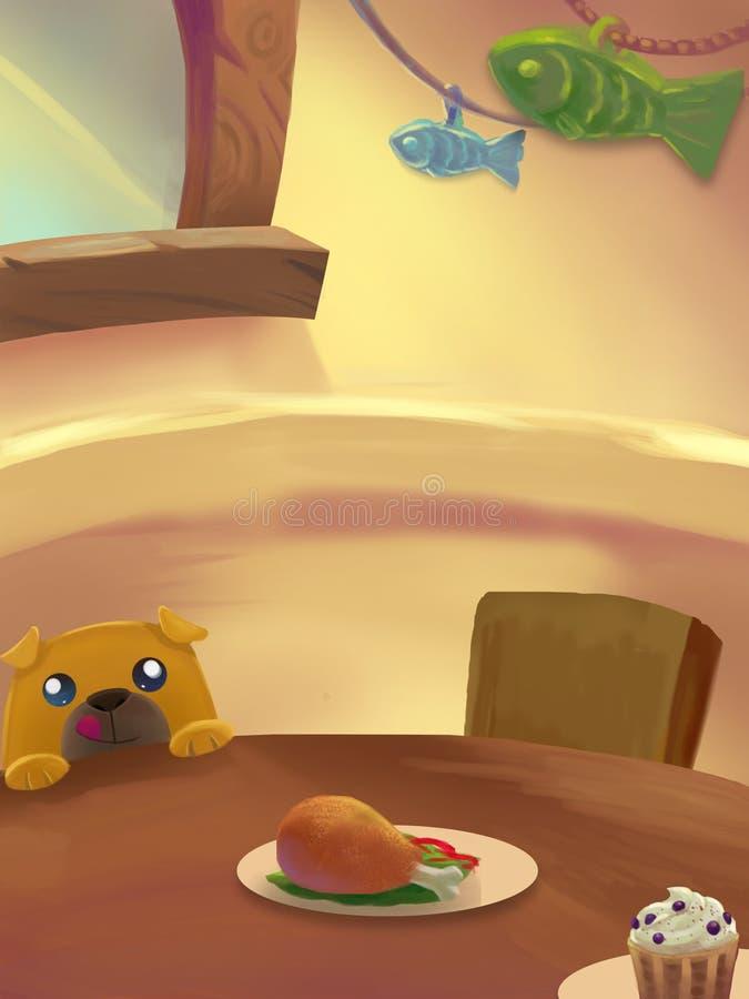 Απεικόνιση: Γλυκό δωμάτιο γευμάτων  Πίνακας με τα τρόφιμα ελεύθερη απεικόνιση δικαιώματος