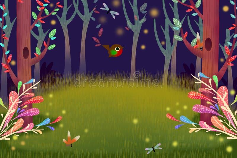 Απεικόνιση: Δασική νύχτα με το φως Firefly πυράκτωσης στο σκοτάδι απεικόνιση αποθεμάτων