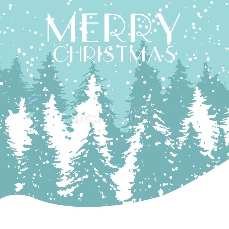 Απεικόνιση διακοπών διακοσμήσεων χειμερινού δασική χαιρετισμού Χριστουγέννων καρτών Χριστουγέννων διανυσματική Κρύο τοπίο παγετού διανυσματική απεικόνιση