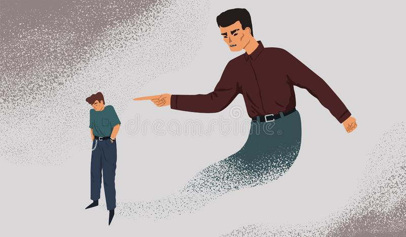 Απεικόνιση διανύσματος μεταφοράς εσωτερικού στοιχείου ελέγχου Καταθλιπτικός άνθρωπος με σύμπλεγμα ενοχής Πρόβλημα ψυχικής υγείας, απεικόνιση αποθεμάτων