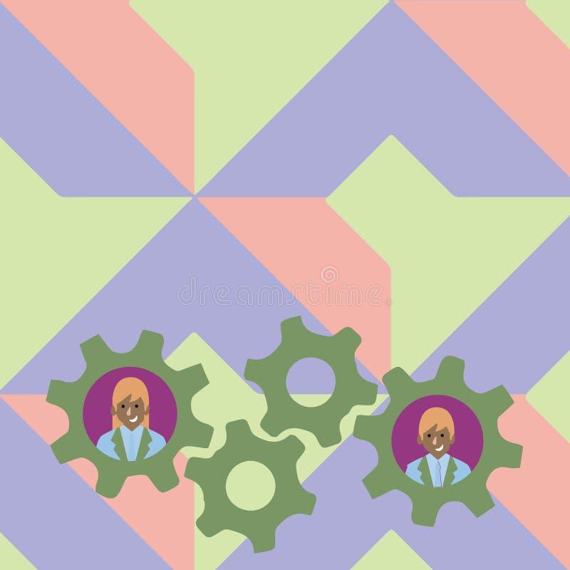 Απεικόνιση δύο επιχειρηματιών κάθε ζωηρόχρωμη φωτογραφία εργαλείων ροδών βαραίνω εσωτερικών Δημιουργική ιδέα υποβάθρου για την ομ απεικόνιση αποθεμάτων
