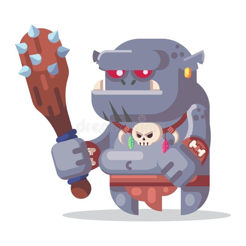 Απεικόνιση εικονιδίων τεράτων και ηρώων χαρακτήρα παιχνιδιών φαντασίας RPG Μεγάλος ogre με τη λέσχη διανυσματική απεικόνιση