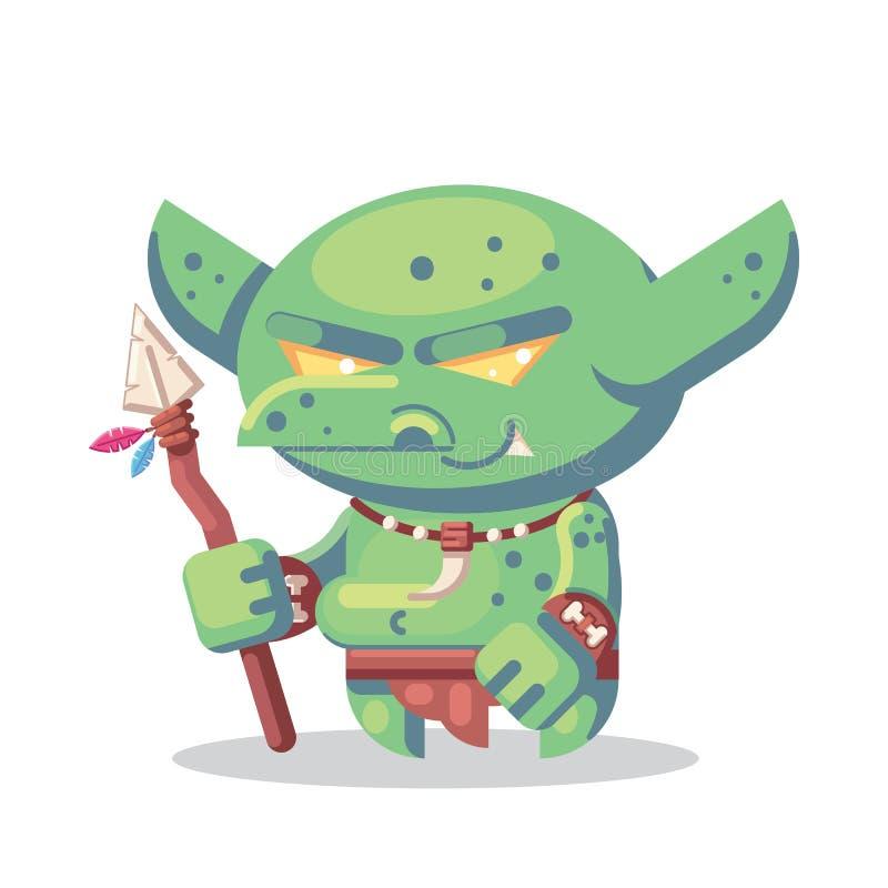 Απεικόνιση εικονιδίων τεράτων και ηρώων χαρακτήρα παιχνιδιών φαντασίας RPG κακός βάρβαρος goblin, πολεμιστής npc με τη λόγχη απεικόνιση αποθεμάτων