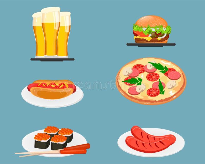 απεικόνιση εικονιδίων τροφίμων σχεδίου διανυσματική εσείς Μπύρα, cheeseburger, χοτ-ντογκ, πίτσα, σούσια και τηγανισμένος απεικόνιση αποθεμάτων