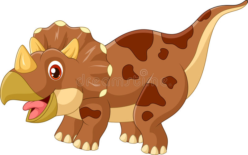 Απεικόνιση δεινοσαύρων τρία κινούμενων σχεδίων triceratops κερασφόρος ελεύθερη απεικόνιση δικαιώματος