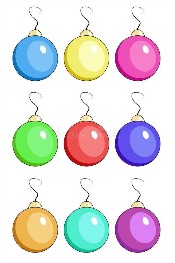 Απεικόνιση εννέα σφαιρών Χριστουγέννων διανυσματική απεικόνιση