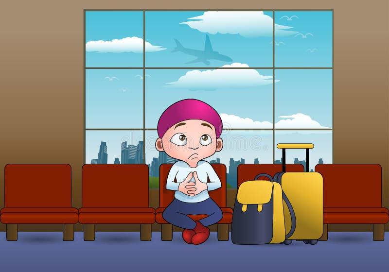 Απεικόνιση ενός αγοριού που περιμένει την αναχώρηση αεροπλάνων στο ταξίδι ελεύθερη απεικόνιση δικαιώματος