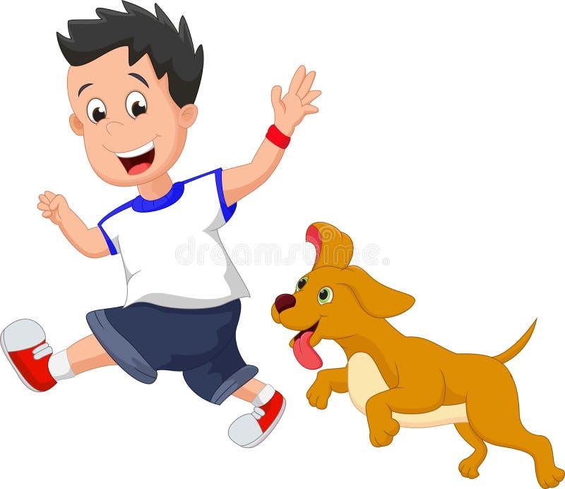 Απεικόνιση ενός αγοριού που τρέχει με το σκυλί κατοικίδιων ζώων του διανυσματική απεικόνιση