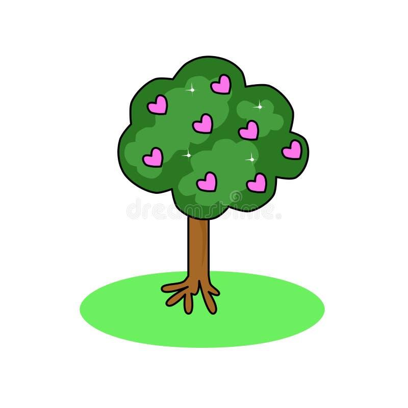 Απεικόνιση ενός δέντρου με τις ρόδινα καρδιές και τα αστέρια Αυξανόμενη αγάπη Αφηρημένες εγκαταστάσεις ελεύθερη απεικόνιση δικαιώματος