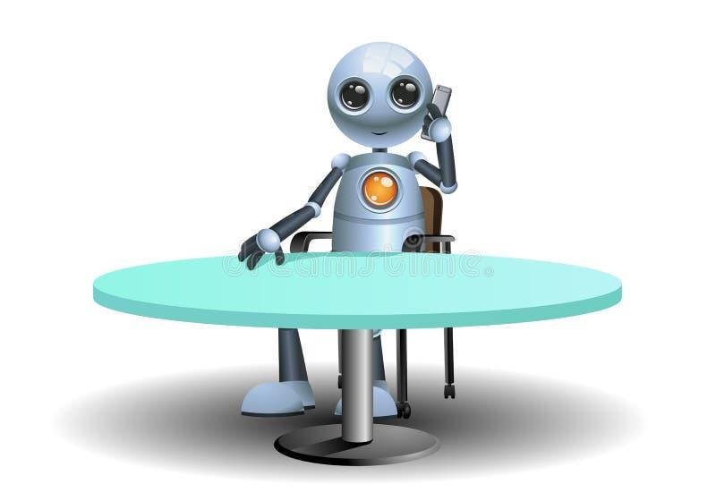 απεικόνιση ενός ευτυχούς μικρού επιχειρηματία ρομπότ που καλεί το συνέταιρο διανυσματική απεικόνιση