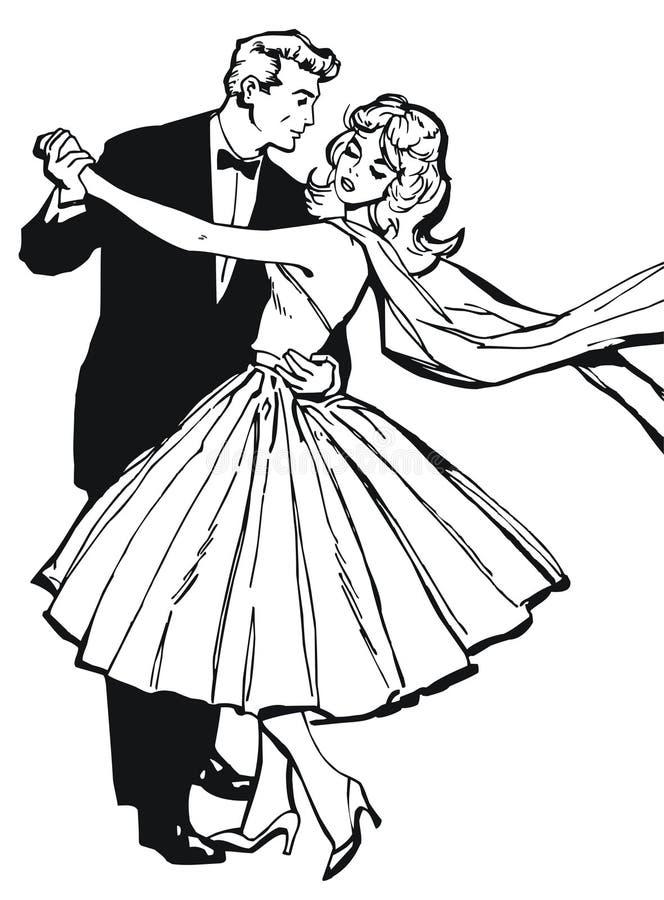 Απεικόνιση ενός ζεύγους που χορεύει, ελεύθερη απεικόνιση δικαιώματος
