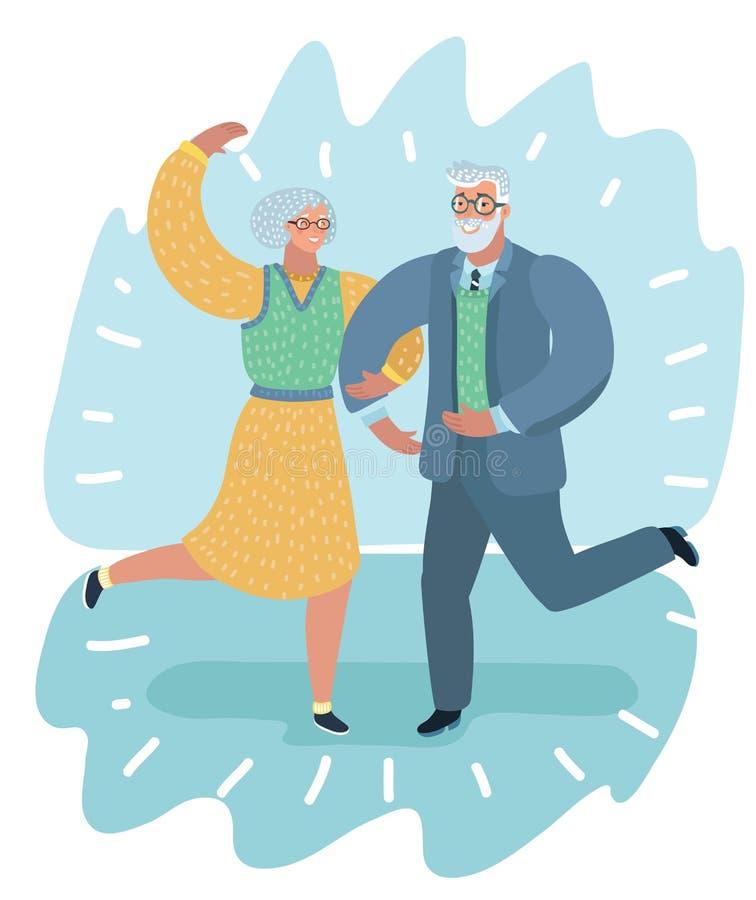 Απεικόνιση ενός ηλικιωμένου χορού ζεύγους διανυσματική απεικόνιση