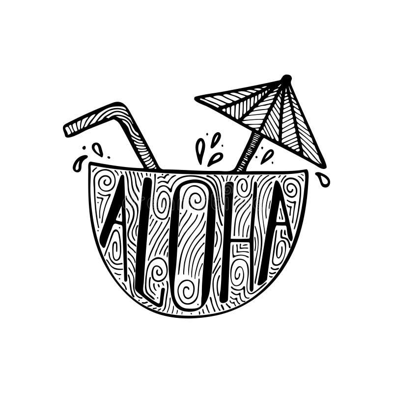 Απεικόνιση ενός κοκτέιλ σε έναν κοκοφοίνικα με μια hand-drawn εγγραφή ελεύθερη απεικόνιση δικαιώματος