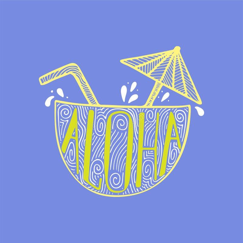 Απεικόνιση ενός κοκτέιλ σε έναν κοκοφοίνικα με μια hand-drawn εγγραφή διανυσματική απεικόνιση