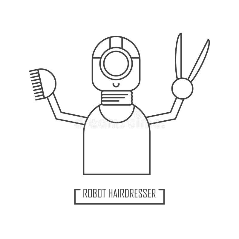 Απεικόνιση ενός κομμωτή ρομπότ Για το σχέδιο ενός σύγχρονου καταστήματος κουρέων διανυσματική απεικόνιση