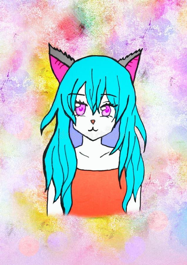 Απεικόνιση ενός κοριτσιού anime με την μπλε τρίχα, μεγάλα ρόδινα μάτια, με τα αυτιά γατών σε ένα φωτεινό ζωηρόχρωμο υπόβαθρο διανυσματική απεικόνιση