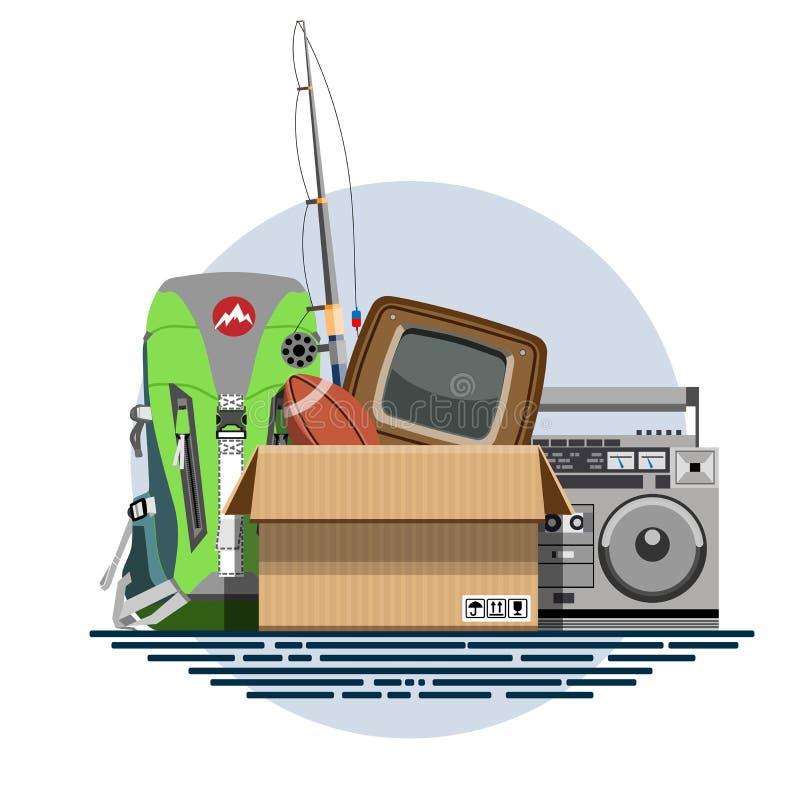 Απεικόνιση ενός κουτιού από χαρτόνι με τα παλαιά πράγματα απεικόνιση αποθεμάτων