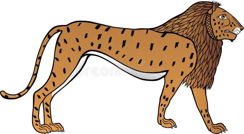 Απεικόνιση ενός λιονταριού που απεικονίζεται στην αρχαία Αίγυπτο Άσπρη ανασκόπηση απεικόνιση αποθεμάτων