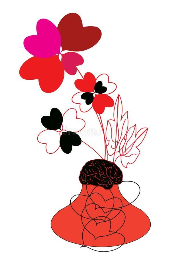 Απεικόνιση ενός λουλουδιού στη μορφή μιας καρδιάς σε ένα δοχείο με το χώμα ως εγκέφαλο διανυσματική απεικόνιση