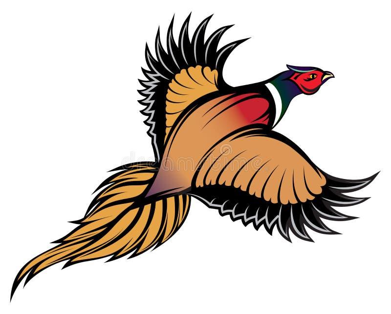 Απεικόνιση ενός μοντέρνου πολύχρωμου πετώντας φασιανού ελεύθερη απεικόνιση δικαιώματος
