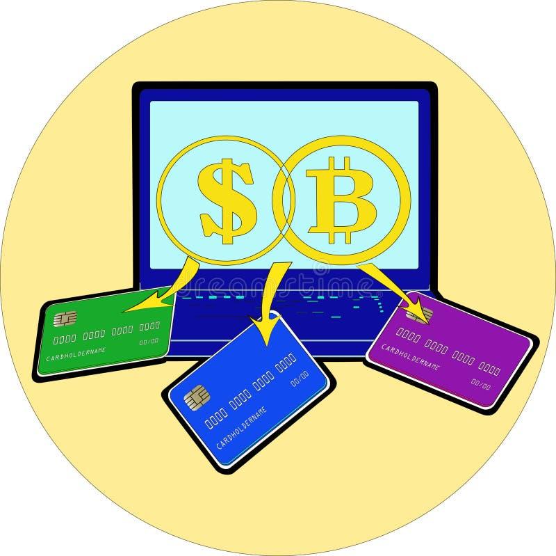 Απεικόνιση, ενός μπλε χρώματος, το δολάριο και το έννοια-lap-top bitcoin και η εξαγωγή των ψηφιακών χρημάτων ελεύθερη απεικόνιση δικαιώματος