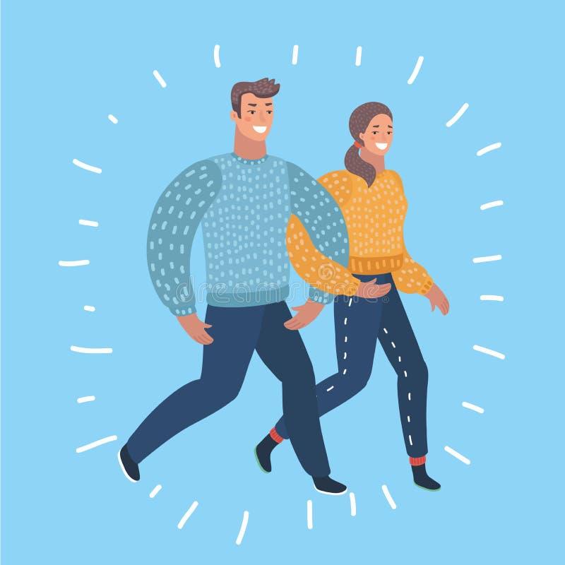Απεικόνιση ενός νέου περπατήματος ζευγών ελεύθερη απεικόνιση δικαιώματος