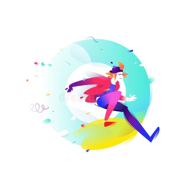 Απεικόνιση ενός νεαρού άνδρα κινούμενων σχεδίων επίσης corel σύρετε το διάνυσμα απεικόνισης Τα τρεξίματα αγοριών από το γράμμα Ο  διανυσματική απεικόνιση
