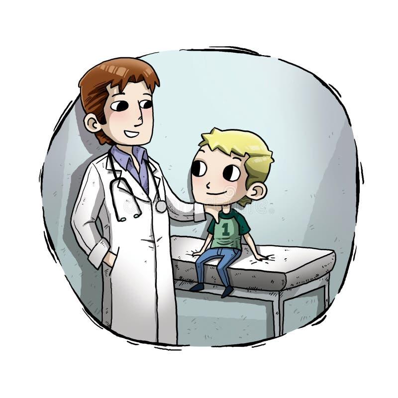 Απεικόνιση ενός παιδιού με το γιατρό στοκ εικόνα με δικαίωμα ελεύθερης χρήσης