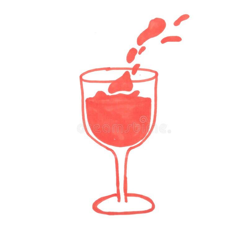 Απεικόνιση ενός ποτηριού του κρασιού με έναν κόκκινο δείκτη διανυσματική απεικόνιση