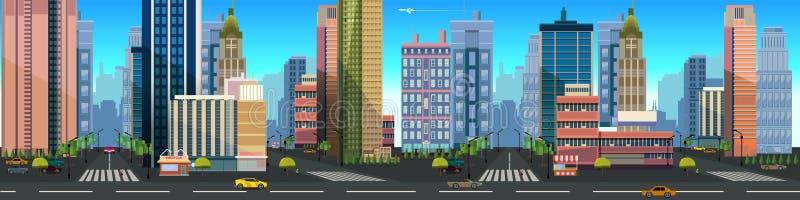 Απεικόνιση ενός τοπίου πόλεων, με τα κτήρια και το δρόμο, του διανυσματικού ατελείωτου υποβάθρου με τα χωρισμένα στρώματα για το  ελεύθερη απεικόνιση δικαιώματος