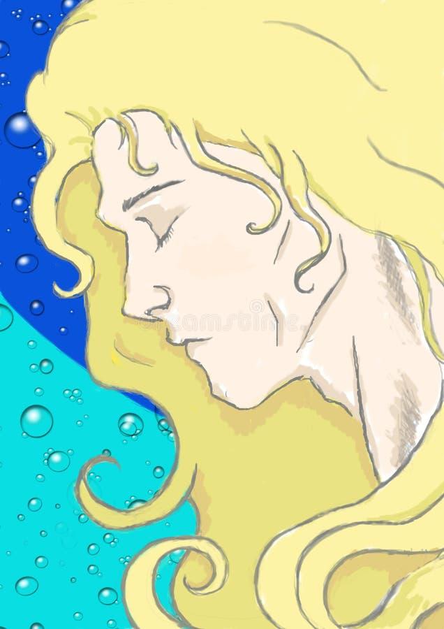 Απεικόνιση ενός τύπου anime με τα όμορφα ξανθά μαλλιά ενάντια σε ένα νερό bubles διανυσματική απεικόνιση