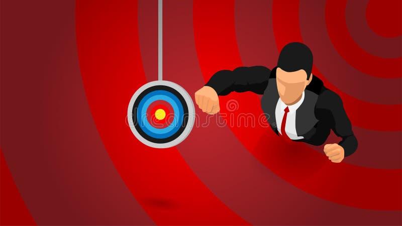 Απεικόνιση ενός φιλόδοξου επιχειρηματία σε έναν στόχο διανυσματική απεικόνιση