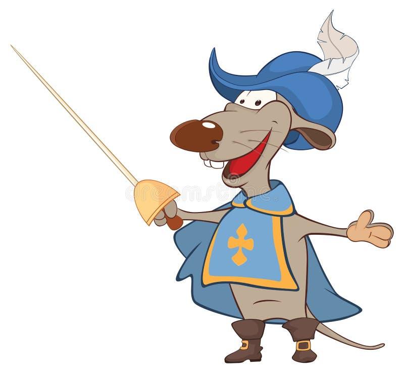 Απεικόνιση ενός χαριτωμένου αρουραίου Μουσκετοφόρος βασιλιά ανασκόπησης ευτυχές κεφάλι σκυλιών χαρακτήρα κινουμένων σχεδίων το αν διανυσματική απεικόνιση