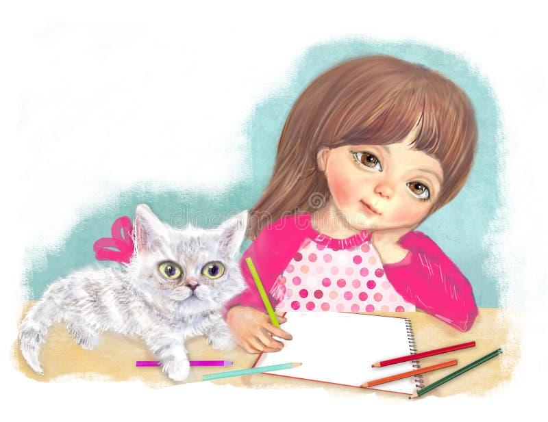 Απεικόνιση ενός χαριτωμένου μικρού κοριτσιού με μια γάτα Το κορίτσι καλλιτεχνών αρχίζει να χρωματίζει τα μολύβια στο λεύκωμα Σχέδ ελεύθερη απεικόνιση δικαιώματος