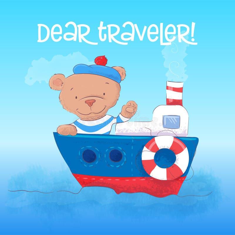 Απεικόνιση ενός χαριτωμένου ναυτικού αρκούδων youngs σε ένα ατμόπλοιο Το χέρι σύρει διανυσματική απεικόνιση