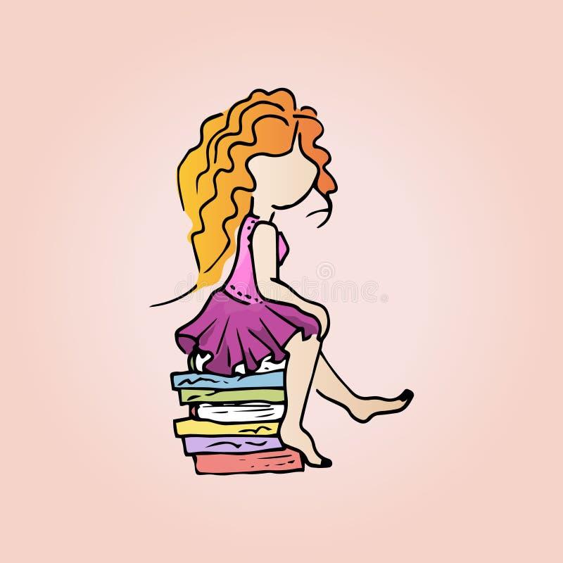 Απεικόνιση ενός χαριτωμένου redhead κοριτσιού με τα βιβλία Κορίτσι σπουδαστών στις διακοπές ελεύθερη απεικόνιση δικαιώματος