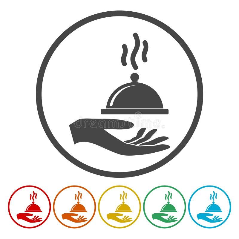 Απεικόνιση ενός χεριού που προσφέρει την κάλυψη τροφίμων απεικόνιση αποθεμάτων