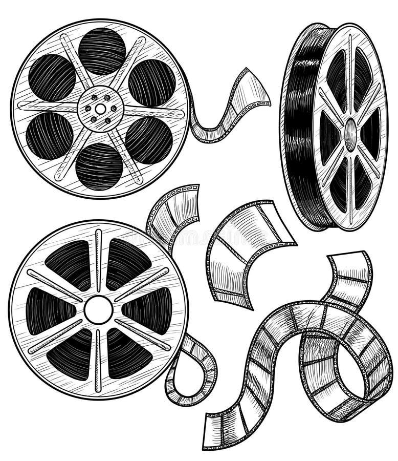 Απεικόνιση εξελίκτρων ταινιών, σχέδιο, χάραξη, μελάνι, τέχνη γραμμών, διάνυσμα ελεύθερη απεικόνιση δικαιώματος