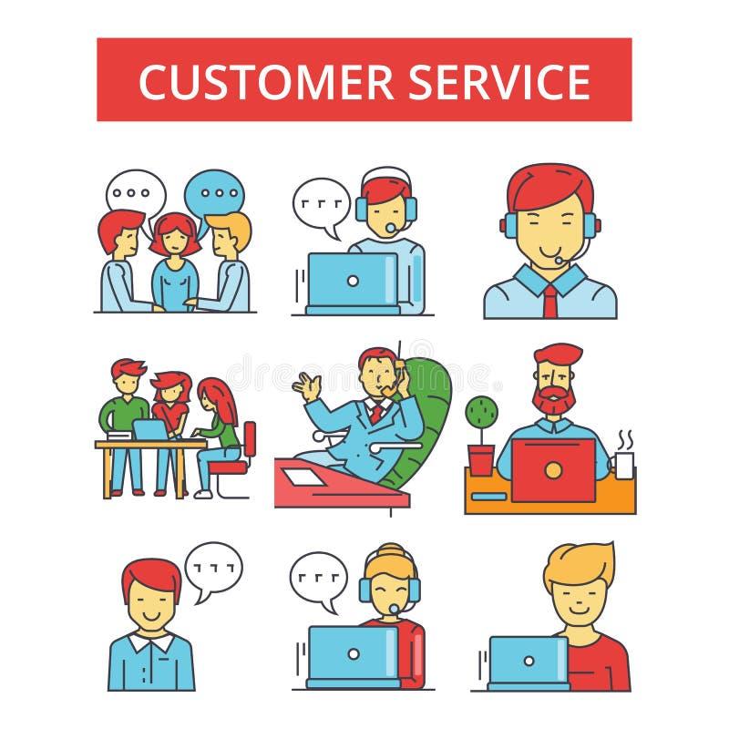 Απεικόνιση εξυπηρέτησης πελατών, λεπτά εικονίδια γραμμών, γραμμικά επίπεδα σημάδια ελεύθερη απεικόνιση δικαιώματος