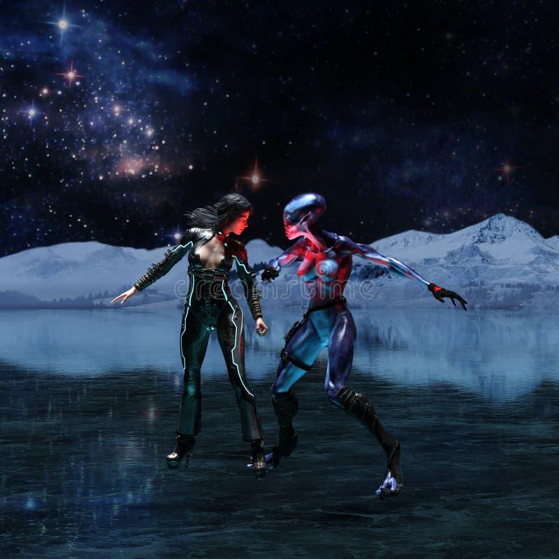 Απεικόνιση εξωγήινος και ανθρώπινος σε έναν παγωμένο αλλοδαπό κόσμο απεικόνιση αποθεμάτων