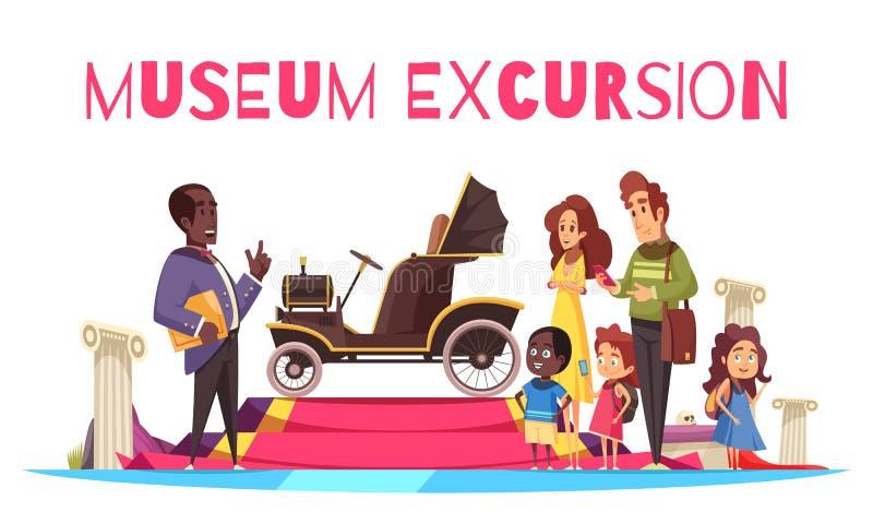 Απεικόνιση εξόρμησης μουσείων επίγειων μεταφορών διανυσματική απεικόνιση
