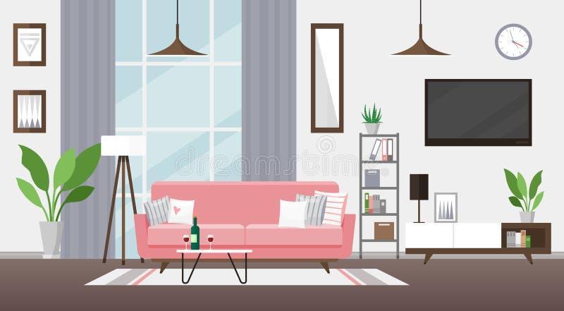 Απεικόνιση επίπεδου διανύσματος του καθιστικού Μοντέρνος λεπτομερής εσωτερικός σχεδιασμός Δωμάτιο με ροζ καναπέ, τηλεόραση, ράφι  διανυσματική απεικόνιση