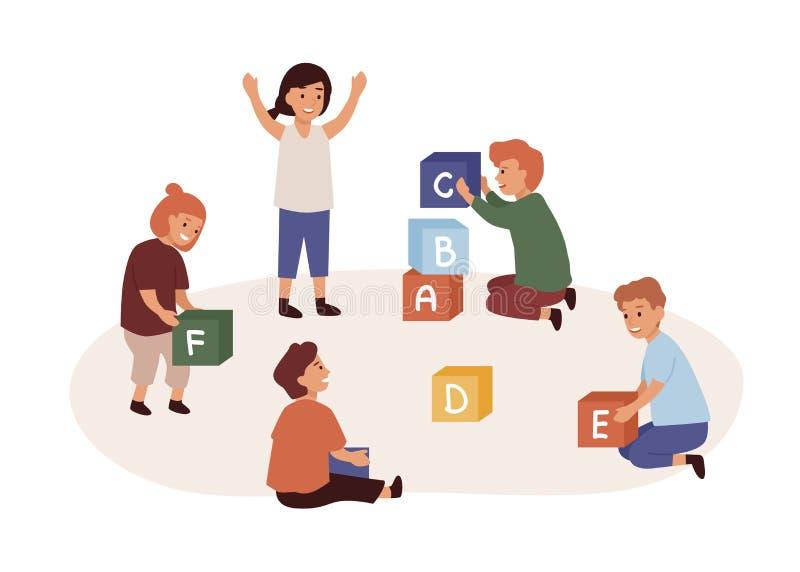 Απεικόνιση επίπεδου διανύσματος Kindergarten Παιδιά που κάθονται στο πάτωμα και παίζουν κύβους με γράμματα απομονωμένα στα λευκά απεικόνιση αποθεμάτων