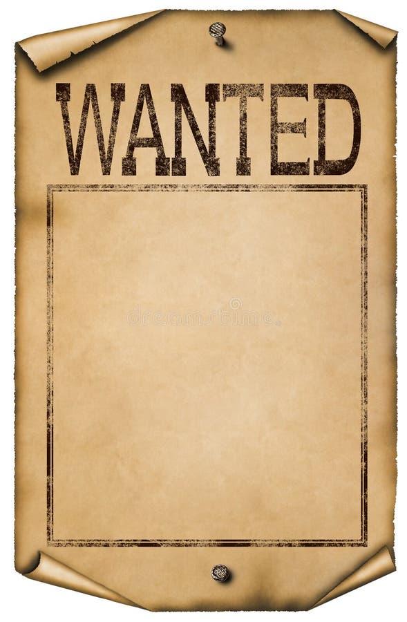 Απεικόνιση επιθυμητής της κενό αφίσας που απομονώνεται στο άσπρο υπόβαθρο διανυσματική απεικόνιση