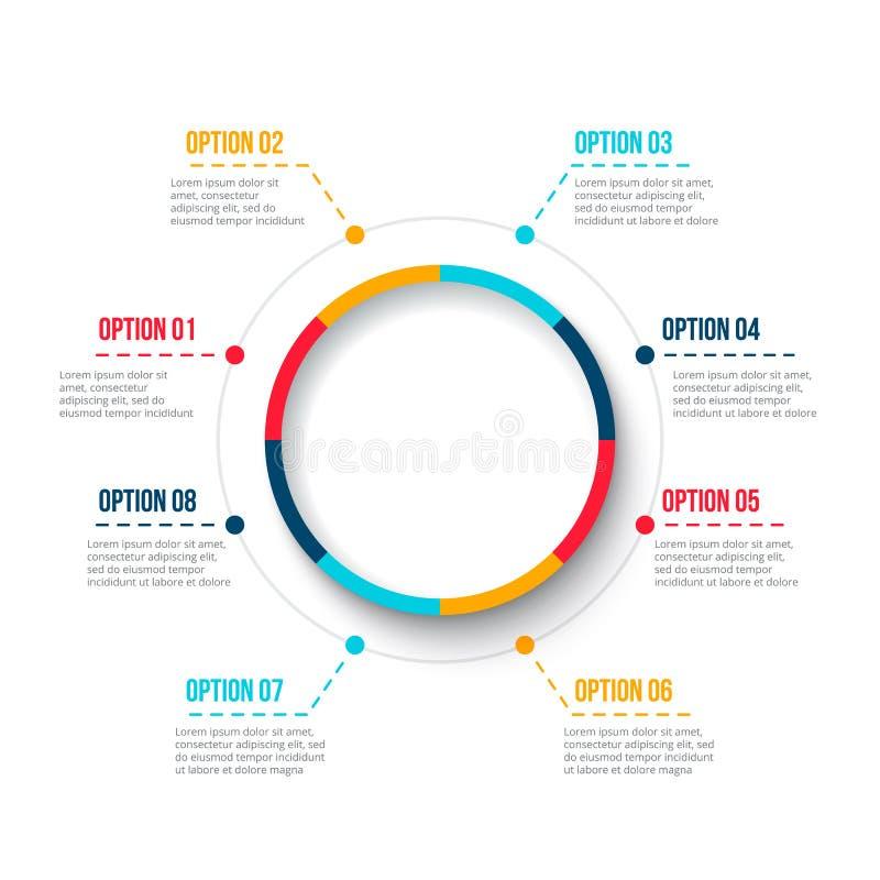 Απεικόνιση επιχειρησιακών στοιχείων Αφηρημένο στοιχείο του διαγράμματος κύκλων με τα 8 βήματα, τις επιλογές, μέρη ή διαδικασίες δ διανυσματική απεικόνιση