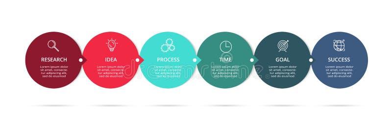 Απεικόνιση επιχειρησιακών στοιχείων Διάγραμμα διαδικασίας Στοιχεία της γραφικής παράστασης, διάγραμμα με τα 6 βήματα, τις επιλογέ ελεύθερη απεικόνιση δικαιώματος