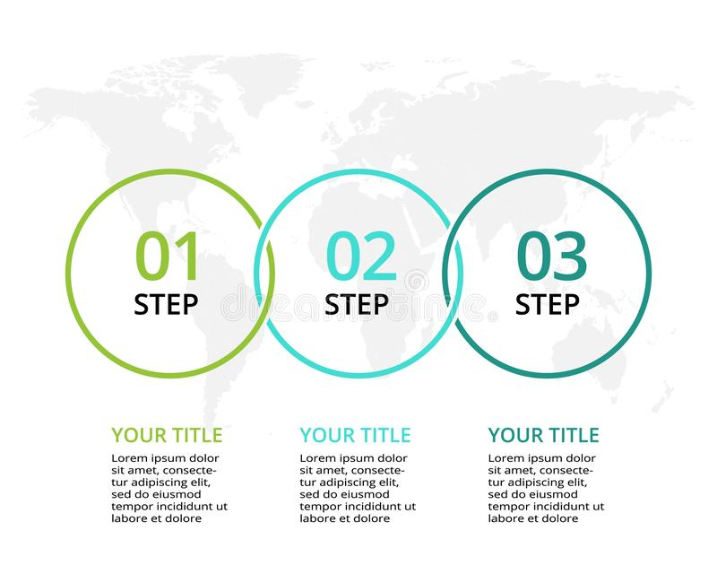 Απεικόνιση επιχειρησιακών στοιχείων Διάγραμμα διαδικασίας Στοιχεία της γραφικής παράστασης, διάγραμμα με τα 3 βήματα, τις επιλογέ απεικόνιση αποθεμάτων